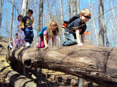 kids on a log