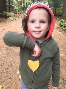 Child with heart-shaped leaf